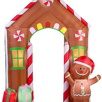 9 Ft Gingerbread House Archway Light Up Inflatable - Spirithalloween.com