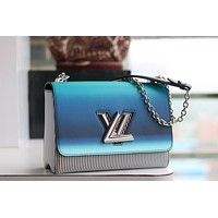 LV Louis Vuitton WOMEN'S LEATHER TWIST DENIM INCLINED SHOULDER BAG