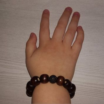 Child's Wood and Lava Diffuser Bracelet, Essential Oil Diffuser Bracelet, Stretch, Kid's Diffuser Bracelet, Natural Beads, Aromatherapy