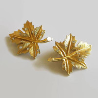 Maple Leaf Earrings, Vintage, Rhinestone & Gold Tone Leaves, Beauties!