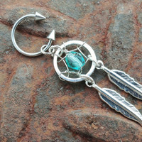 Teal Dream Catcher Circular Barbell with Spikes Belly Button Jewelry Dangle Charm