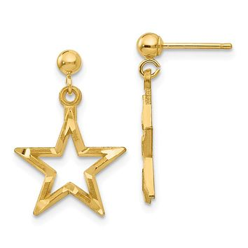 13mm Diamond Cut Open Star Dangle Post Earrings in 14k Yellow Gold