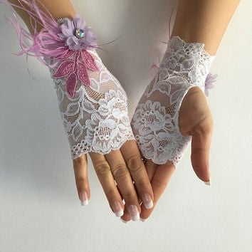 Ivory french lace gloves bridal gloves ivory lace gloves fingerless gloves free ship, lilac flowers and feather design, lilac lace gloves,