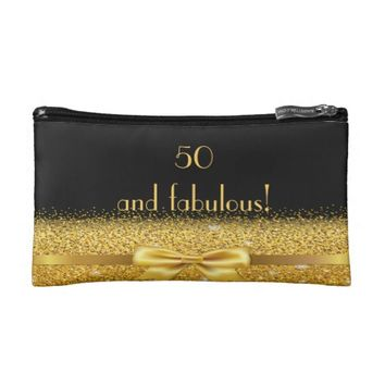 50 and fabulous Chic golden bow with sparkle black Makeup Bag