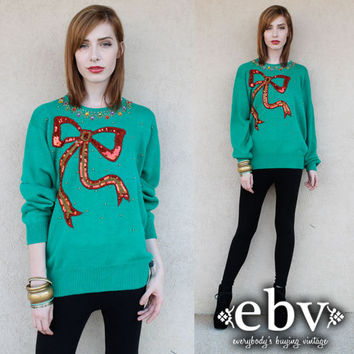 Vintage Sweater Vintage 80s Sequin Christmas Bow Sweater Jumper S M L Ugly Christmas Sweater
