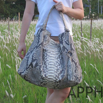 Burla Genuine Exotic Python Leather Large Scale Natural Handbag with additional mini multifunction purse