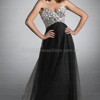 Edressestore.com.au — A-line Sweetheart Tulle Floor-length Black Crystal Formal Dresses at edressestore.com.au