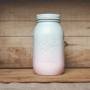 One pink and mint green painted mason jar. Fun vase, centerpiece, weddings, baby showers. Colored jars, baby colors.