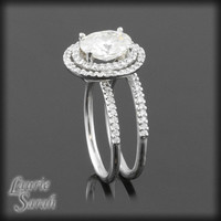 Oval Moissanite with Double Halo of Diamonds Wedding Ring Set - LS1733