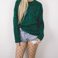 Vintage Sparkly Green Knit Sweater