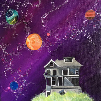 Original Acrylic Painting - Abandoned House on Hill in Outer Space. Vivid Colors - Black & White - whimsical art - wall art - home decor
