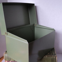 Index File Box Vintage Army Green Tin Metal Desk Top File Recipe Card Tool Box by J Chein USA for Retro Kitchen Office or Man Cave Decor