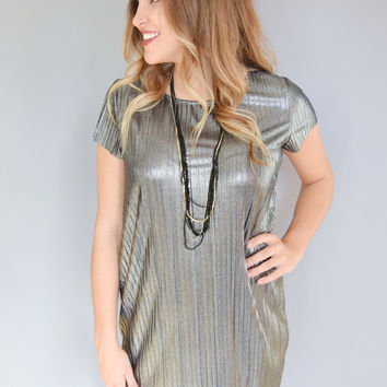 Champagne Toast Textured Shift Dress