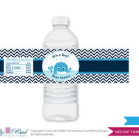 Boy Whale Baby Shower Water Bottle Wrappers, Labels, - it's a Boy Navy , Chevron - oz8bs5