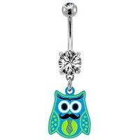 Blue & Green Owl with Mustache Belly Ring