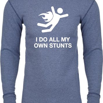 Buy Cool Shirts Funny T-shirt I Do All My Own Stunts White Print Thermal