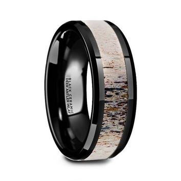 Black Ceramic Wedding Ring Deer Antler Ombre Beveled Polished Finish - 8mm