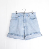 Vintage Levis Shorts - Levis 550 - High Waisted Shorts - Mom Shorts - Blue Denim Grunge Painters Shorts - 80s 90s Mom Jeans Cut Off Shorts