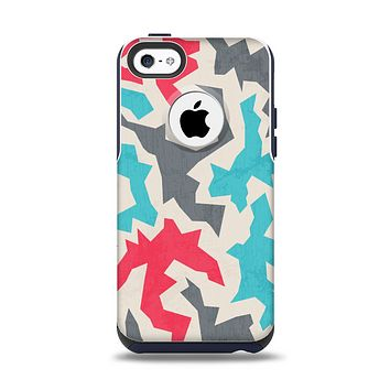The Retro Colored Abstract Maze Pattern Apple iPhone 5c Otterbox Commuter Case Skin Set