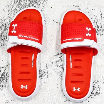 Under Armour Sandals White Red Slides Slippers - Best Deal Online