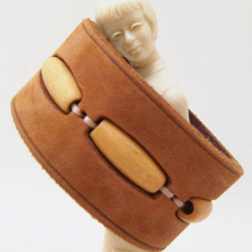 Beaded Cuff Bracelet  Leather and Wood Bead by mimileather on Etsy