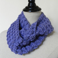 Blue berry cluster, hand crochet infinity scarf, ready to ship, infinity cowl scarf #446