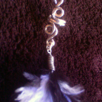 Swirl Vine with Black & White Feather Ear Cuff