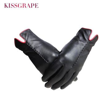 Top Quality Women's Warm Gloves Genuine Sheep Leather Gloves Female Sheepskin Driving Gloves Winter Mittens for Cold Weather