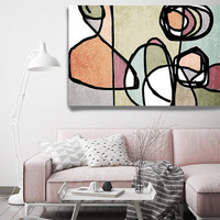 """Vibrant Colorful Abstract-61. Mid-Century Modern Green Pink Canvas Art Print, Mid Century Modern Canvas Art Print up to 72"""" by Irena Orlov"""