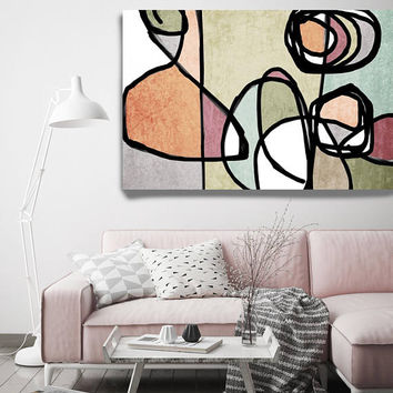 "Vibrant Colorful Abstract-61. Mid-Century Modern Green Pink Canvas Art Print, Mid Century Modern Canvas Art Print up to 72"" by Irena Orlov"