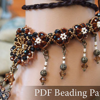 Beading Tutorial 1001 Nights Foot Jewelry, Nude Shoes, Beaded Anklet, Beading Pattern Barefoot Sandal,Beaded Bottomless Sandals Pattern, PDF