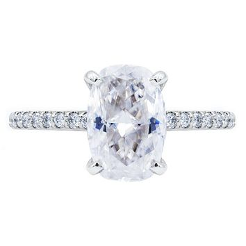 **NEW Elongated Skinny Cushion Crushed Ice Moissanite 4 Prongs Diamond Accent Ice Solitaire Ring