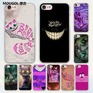 MOUGOL anime Cheshire Cat alice in wonderland design hard clear Case Cover for Apple iPhone 7 6 6s Plus SE 4s 5 5s 5c Phone Case