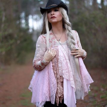 Country girl Tunic, Lace boho chic tunic top, True Rebel Clothing