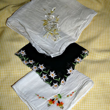 Vintage Handkerchief Set Fall Colours Embroidered Hankies Yellow, White, Black, Orange Floral Hankies Fall Wedding