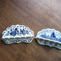 Set of 2 Delft Blue & White Hanging Mini Spoon Holders; Delfts Blauw Sailboat + Floral + Mini Spoon; Holders Flawed; Old World Decor