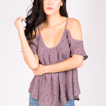 Womens All Over Print Cold Shoulder Top