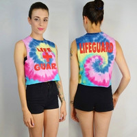 Tie Dye Crop LIFEGUARD 90s Soft Grunge Cyber Seapunk Hipster Womens Clothing Handmade Tie Dye Spiral Size Small Medium Beach Bum Hippie
