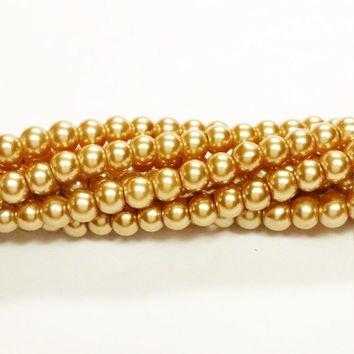 4mm gold glass round pearl beads, Beads for jewelry making, pearlescent beads, G200