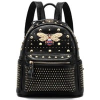 GUCCI Stylish Women Personality Casual Bee Rivet School Bag Cowhide Leather Backpack I