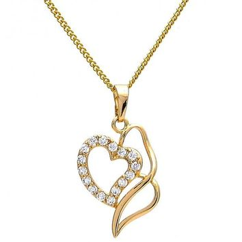 Gold Layered 04.63.0188.18 Fancy Necklace, Heart Design, with White Cubic Zirconia, Polished Finish, Golden Tone