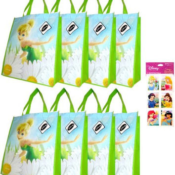 "8-pack Tinkerbell Tote Bags (15""x14""x6"" Woven Reusable) AND a Rare 4-sheet Disney Princess Stickers Set (3""x6"") ---- Tinkerbell Party Supplies and Favors for Kids - Stickers feature Ariel, Snow White, Belle, Jasmine, Cinderella and Little Mermaid"