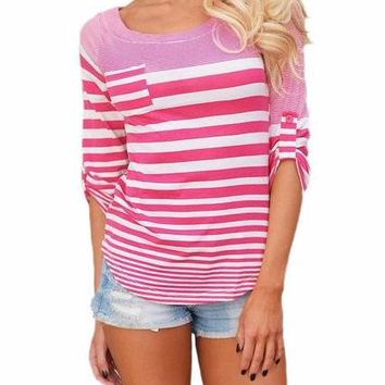 Women's Pink/White Contrast Striped 3/4 Sleeve T-Shirt with Pocket Detail