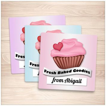 Personalized Cupcake 'Fresh Baked Goodies' Baking Stickers - Printable