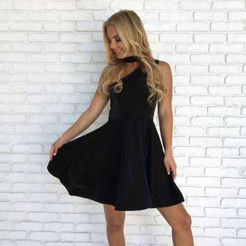 Swing & Shine Skater Dress in Black