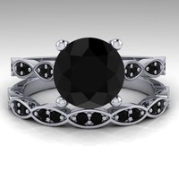 Black Diamond Wedding Ring Set, White Gold Bridal Ring Set