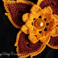 Prajamyaam - Large Crochet Flower - Statement Applique - Home Decor - Thai Art Water Flower - F082