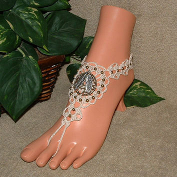 Crochet Dream Catcher Barefoot Sandals, Anklet, Beach Jewelry, Footless, Jewelry, Beach Sandal, Charms