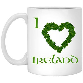 Irish Shamrock Mug I Love Ireland, 11 or 15 oz Ceramic Coffee Cup, St. Patrick's Day Gift