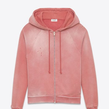 Saint Laurent Washed Hooded Zip Sweatshirt In Faded Rose French Terrycloth | YSL.com